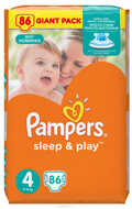 Pampers Подгузники Sleep & Play Maxi (8-14 кг) 86 шт.