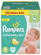 Pampers Подгузники Active Baby-Dry Maxi (9-14 кг), 132 шт